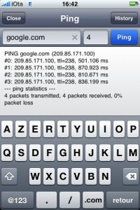 Test de ping sur Edge