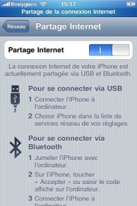 iPhone : L'internet tethering