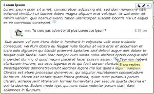 La réponse inline permet de commenter à un endroit précis au milieu du texte. Remarquez les commentraires réduits pour faciliter la lecture